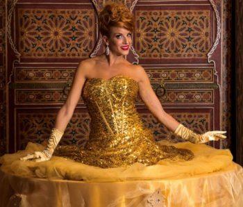 performance mesa humana color oro