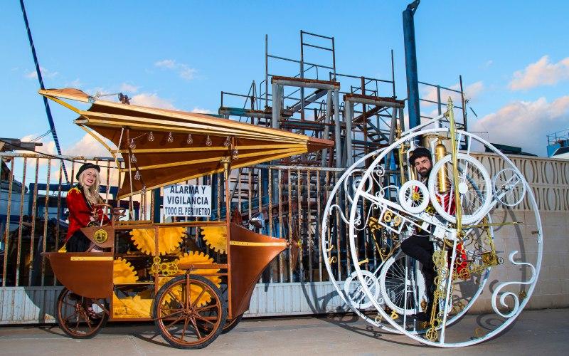 fly delta carrito de coctail y maquina con rueda giratoria del futuro